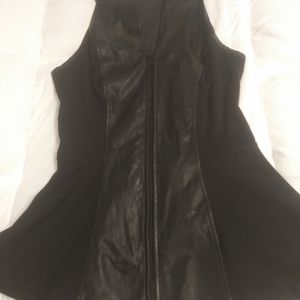 Leather with cotton sides top
